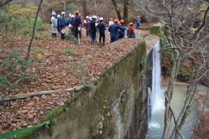 「2号ダム」とほぼ同規模の「1号ダム」。堰堤の上部は土砂が堆積している。これだけ落差があると、魚類は遡上できない。
