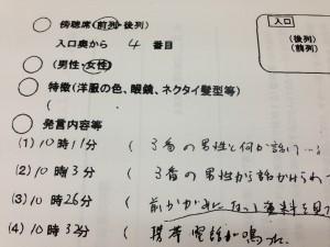 傍聴人の言動を監視した都教委の監視記録。情報公開請求で判明した。(提供/永野厚男)