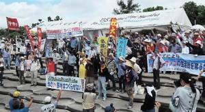 名護市辺野古では6月28日、新基地建設に反対する海上デモと抗議集会が行なわれた。(撮影/本誌取材班)
