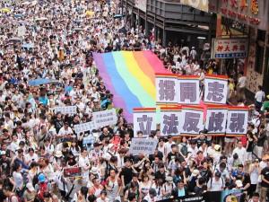 返還から17年の7月1日、香港ではデモに参加した多くの市民がビクトリア公園を埋めた。(撮影/楢橋里彩)