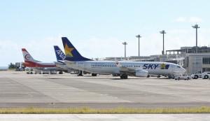 石垣島路線へ2013年7月に初就航した当時のスカイマーク機。(提供/八重山毎日新聞社)