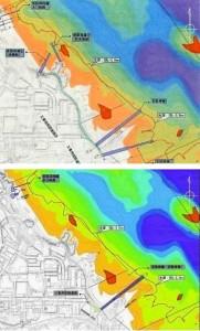 写真上/昨年6月の第2回環境監視委で沖縄防衛局が配布した図面。写真下/同局が3月9日に「2014年6月20日」の同資料として公表した図面。仮設桟橋・岸壁計3本が1本に変更されている。(提供/沖縄タイムス社)