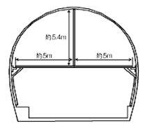 落下カ所のトンネル断面図