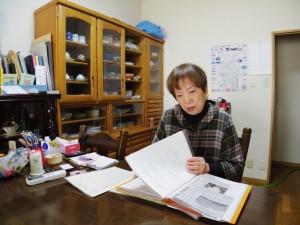 神戸市から退去を迫られている丹戸郁江さん。(2月5日、撮影/粟野仁雄)