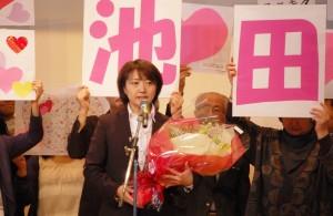 3月5日、北海道札幌市の市民集会で挨拶する池田真紀氏。(撮影/木村嘉代子)