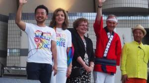 祭典に参加したキャロライン=ケネディ駐日米国大使(左から2人目)。(撮影/及川健二)