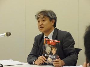 報告集会での植村隆氏。第6回口頭弁論は8月3日午後3時から東京地裁にて。(撮影/佐藤洋子)