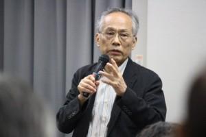 8月5日、広島市内で講演する佐高信本誌編集委員。(撮影/藍原寛子)