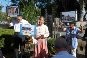 高津観音寺(八千代市)で韓国での「追悼会」の報告をする金美鈴さん(中央)。(撮影/西中誠一郎)