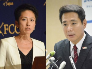民進党代表選は蓮舫氏(左)と前原誠司氏が一騎打ちの構図。(撮影/横田一)