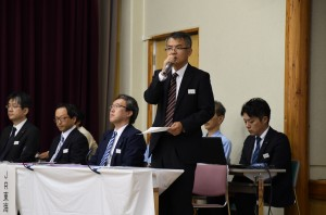8月24日、長野県大鹿村中心部での全体の説明会を開いたJR東海。(撮影/井澤宏明)